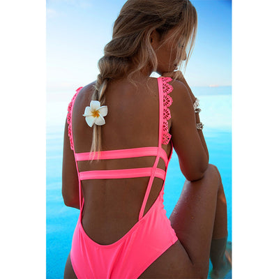 Sexy One Piece Brazilian Bathing Suit Hot Pink / M - Women Swimwear & Cover Ups | MegaMallExpress.com