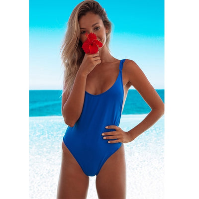 Sexy One Piece Brazilian Bathing Suit Blue / M - Women Swimwear & Cover Ups | MegaMallExpress.com