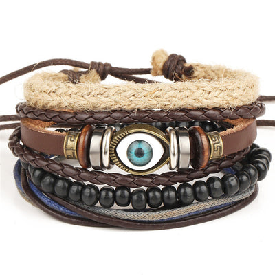 Bead Leather Bangle Multi 19 - Bracelets & Bangles | MegaMallExpress.com