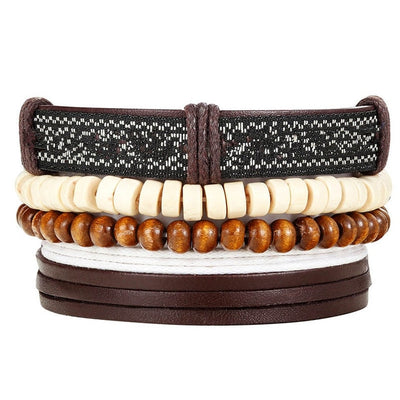 Bead Leather Bangle Multi 17 - Bracelets & Bangles | MegaMallExpress.com