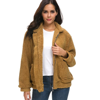 Women Fluffy Short Coat Camel / XXL - Women Jackets & Coats | MegaMallExpress.com