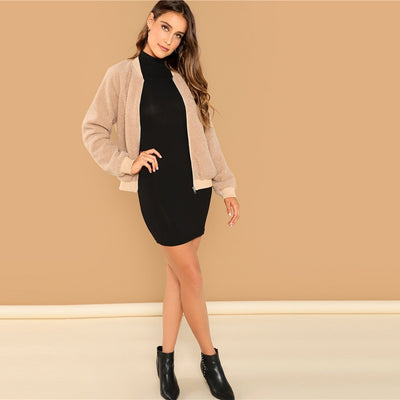 Long Sleeve Collar Skinny Black Dress  - Women Dresses | MegaMallExpress.com