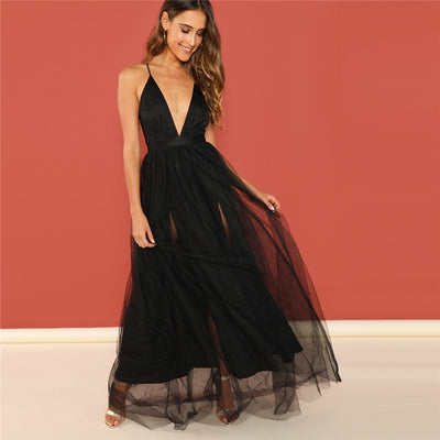 Sumptuous Plunging V Neck Black Maxi Dress  - Women Dresses | MegaMallExpress.com