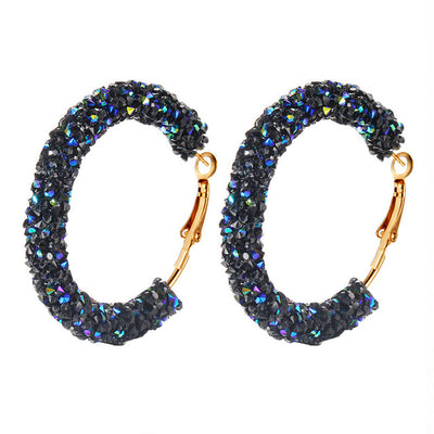 Shiny Hoop Earrings black - Earrings | MegaMallExpress.com