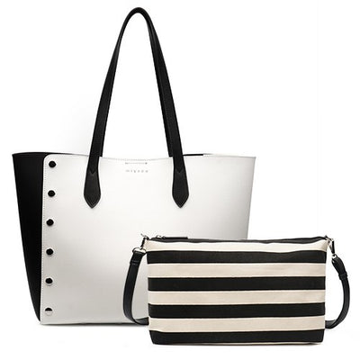 Leather Shopping Tote Bag and Purse Set white tote / 43 x 16 x 30 cm - Women Handbags & Purses | MegaMallExpress.com