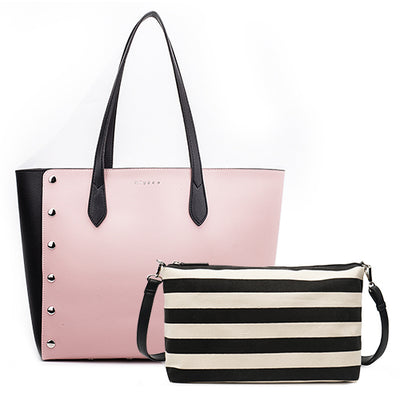 Leather Shopping Tote Bag and Purse Set pink tote / 43 x 16 x 30 cm - Women Handbags & Purses | MegaMallExpress.com