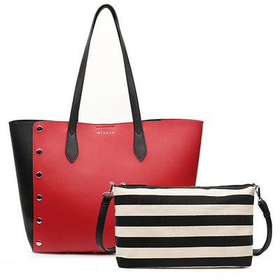 Leather Shopping Tote Bag and Purse Set red tote / 43 x 16 x 30 cm - Women Handbags & Purses | MegaMallExpress.com