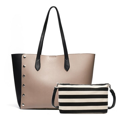 Leather Shopping Tote Bag and Purse Set mud tote / 43 x 16 x 30 cm - Women Handbags & Purses | MegaMallExpress.com