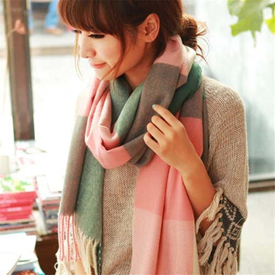 Plaid Cashmere Scarves pink / One Size - Women Socks & More | MegaMallExpress.com