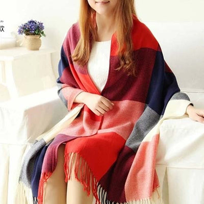 Plaid Cashmere Scarves wine red / One Size - Women Socks & More | MegaMallExpress.com
