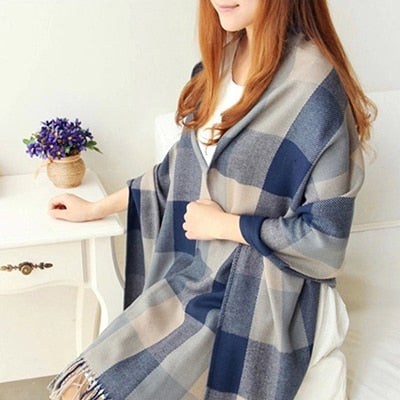 Plaid Cashmere Scarves blue / One Size - Women Socks & More | MegaMallExpress.com