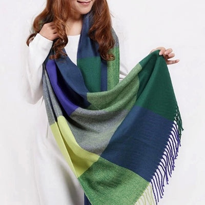Plaid Cashmere Scarves green / One Size - Women Socks & More | MegaMallExpress.com