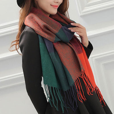 Plaid Cashmere Scarves orange green / One Size - Women Socks & More | MegaMallExpress.com