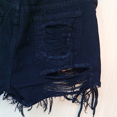 Sexy Lace Up Black Denim Shorts  - Women Bottoms | MegaMallExpress.com