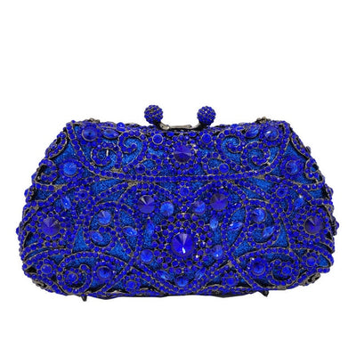 Women's Sparkling Silver Crystal Clutches Blue 22 / 18 x 5 x 10 cm - Women Handbags & Purses | MegaMallExpress.com