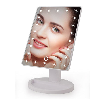 Elegant LED Touch Screen 1X 10X Magnifier Makeup Desktop Mirror 22 Led White Part - Trending Products | MegaMallExpress.com