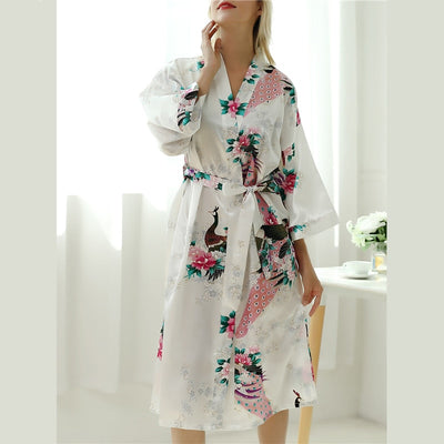Peacock Print Belted Robe  - Women Intimates | MegaMallExpress.com