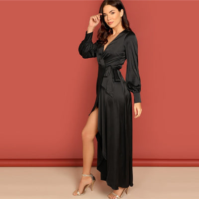 Black Deep V Neck High Waist Long Dress L / Black - Women Dresses | MegaMallExpress.com
