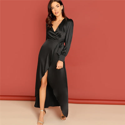 Black Deep V Neck High Waist Long Dress  - Women Dresses | MegaMallExpress.com