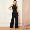 Elegant Backless Party Jumpsuit Black / L - Women Rompers & Jumpsuits | MegaMallExpress.com