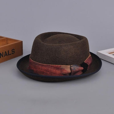 100% Wool Classic Fedora Hat coffee - Men Hats & Caps | MegaMallExpress.com