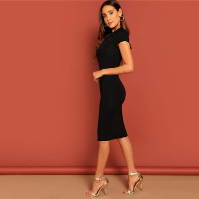 Black Natural Waist Fitted Pencil Dress  - Women Dresses | MegaMallExpress.com