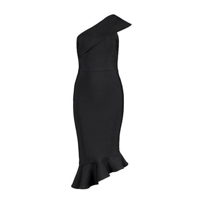 One Shoulder Cocktail Dress Black / XS - Women Dresses | MegaMallExpress.com