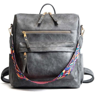 Women's Leather School Backpacks Grey - Everyday Backpacks | MegaMallExpress.com