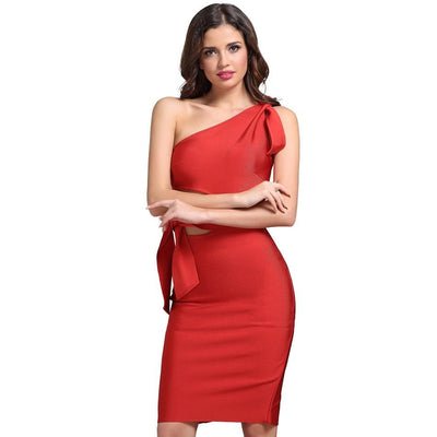 2019 Summer One Shoulder Bandage Party Dresses Red / S - Women Dresses | MegaMallExpress.com