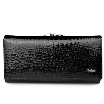 Women's Alligator Grain Clutch Wallets Black - Women Wallets | MegaMallExpress.com
