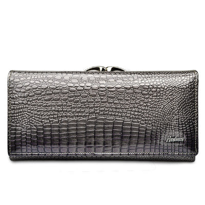 Women's Alligator Grain Clutch Wallets Gray - Women Wallets | MegaMallExpress.com