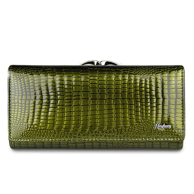 Women's Alligator Grain Clutch Wallets Green - Women Wallets | MegaMallExpress.com