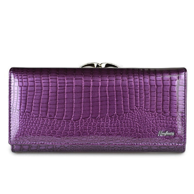 Women's Alligator Grain Clutch Wallets Purple - Women Wallets | MegaMallExpress.com