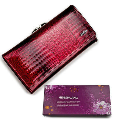 Women's Alligator Grain Clutch Wallets Wine With Box - Women Wallets | MegaMallExpress.com