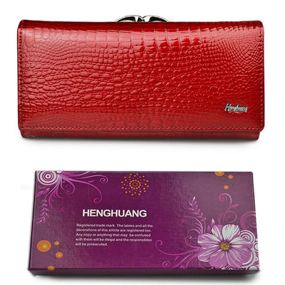 Women's Alligator Grain Clutch Wallets Red With Box - Women Wallets | MegaMallExpress.com
