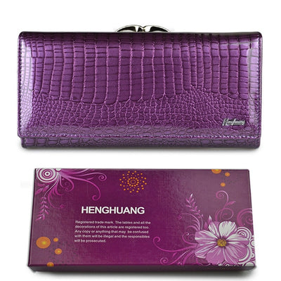 Women's Alligator Grain Clutch Wallets Purple With Box - Women Wallets | MegaMallExpress.com