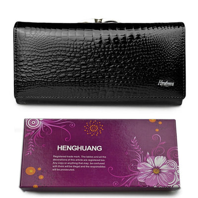 Women's Alligator Grain Clutch Wallets Black With Box - Women Wallets | MegaMallExpress.com