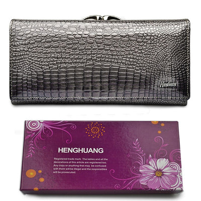 Women's Alligator Grain Clutch Wallets Gray with Box - Women Wallets | MegaMallExpress.com