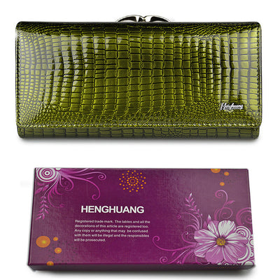 Women's Alligator Grain Clutch Wallets Green with Box - Women Wallets | MegaMallExpress.com
