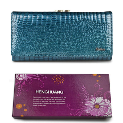 Women's Alligator Grain Clutch Wallets Light blur with Box - Women Wallets | MegaMallExpress.com