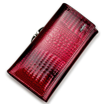 Women's Alligator Grain Clutch Wallets WINE RED - Women Wallets | MegaMallExpress.com