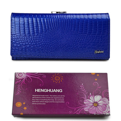 Women's Alligator Grain Clutch Wallets Blue with Box - Women Wallets | MegaMallExpress.com