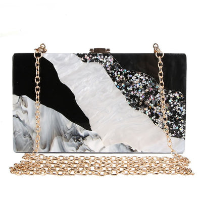 Elegant Marbleized Acrylic Party Purse black / 18.5 x 11 x 4.5 cm - Women Handbags & Purses | MegaMallExpress.com