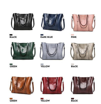 Women's Oil Waxed Leather Shoulder Bags  - Women Handbags & Purses | MegaMallExpress.com