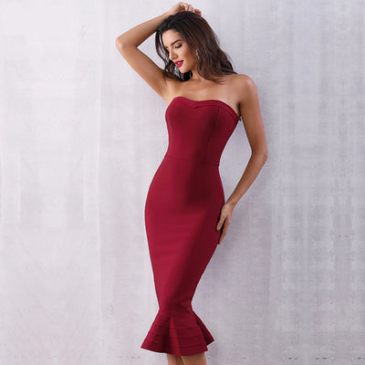 2019 Sexy Strapless Party Dresses Wine Red / XS - Women Dresses | MegaMallExpress.com