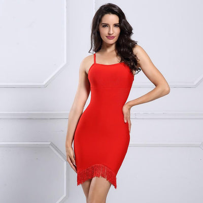 2019 Summer Spaghetti Strap Fringe Mini Dresses Red / XS - Women Dresses | MegaMallExpress.com
