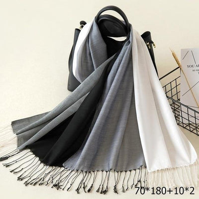 Elegant Cotton Tassel Scarves Multi 1 / 70 x 180 cm - Women Socks & More | MegaMallExpress.com