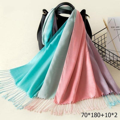 Elegant Cotton Tassel Scarves Multi 2 / 70 x 180 cm - Women Socks & More | MegaMallExpress.com