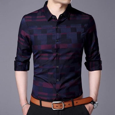 Men's Business Casual Shirt Wine / 4XL - Men Shirts | MegaMallExpress.com