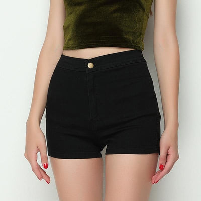 Tight Fitting High Waist Jean Shorts black / L - Women Bottoms | MegaMallExpress.com